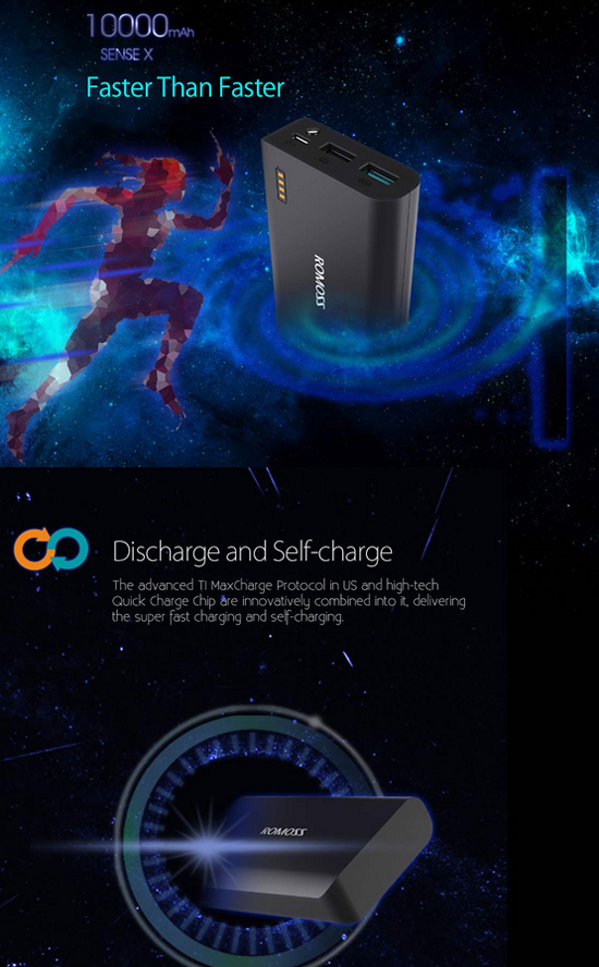 Romoss Sense X 10 000mah Quick Charge Dual Output Power