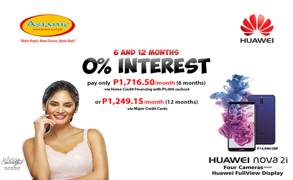 Huawei Nova2i 0% Interest Offer valid from Feb 10 to Feb 28, 2018