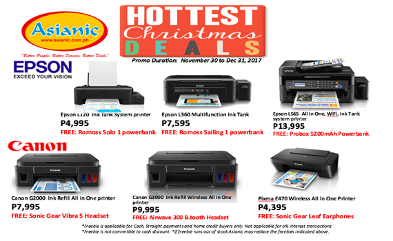 Asianic Christmas Deals printers section