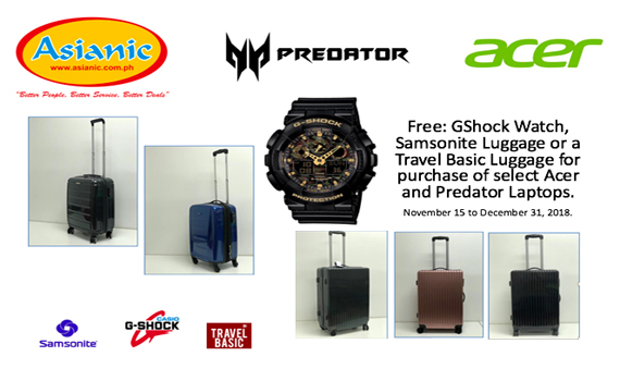 Acer Holiday Promo 2018 Extended until Jan 31, 2019.